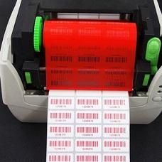 ribbon rojo en impresora etiquetas